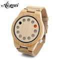2016 New Arrival 12 Holes Display Design Mens Women Fashion Bamboo Wooden Watch Leather Quartz Wrist