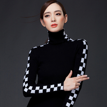 2015 autumn winter women's pullover turtleneck sweater plaid slim heap turtleneck plus size cashmere  sweater(China (Mainland))