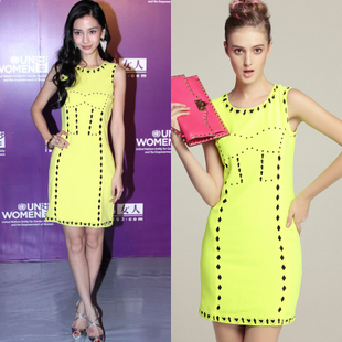 2013 fashion spring and summer women's angelababy geometry cutout slim one-piece dress