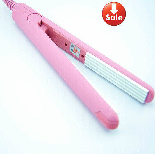 Mini Pink Ceramic Electronic hair straighteners 220-240V Straightening corrugated Iron styling tools(China (Mainland))