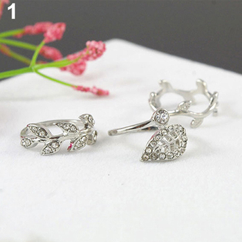 HOT! 3Pcs Fashion Women's Alloy Gold/Silver Rhinestone Leaf Above Knuckle Finger Ring
