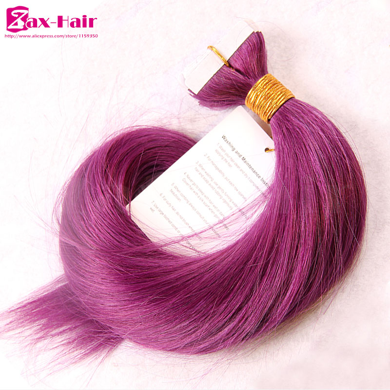 Straight indian remy tape hair extensions tape hair extensions skin weft purple red virgin human hair grade 6A sale customized<br><br>Aliexpress