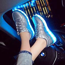 7ipupas הניצוץ זוהר led נעל ילד ילדה עם אור בלעדי ילד אור למעלה סניקרס led יוניסקס usb טעינה כסף זוהר סניקרס(China)