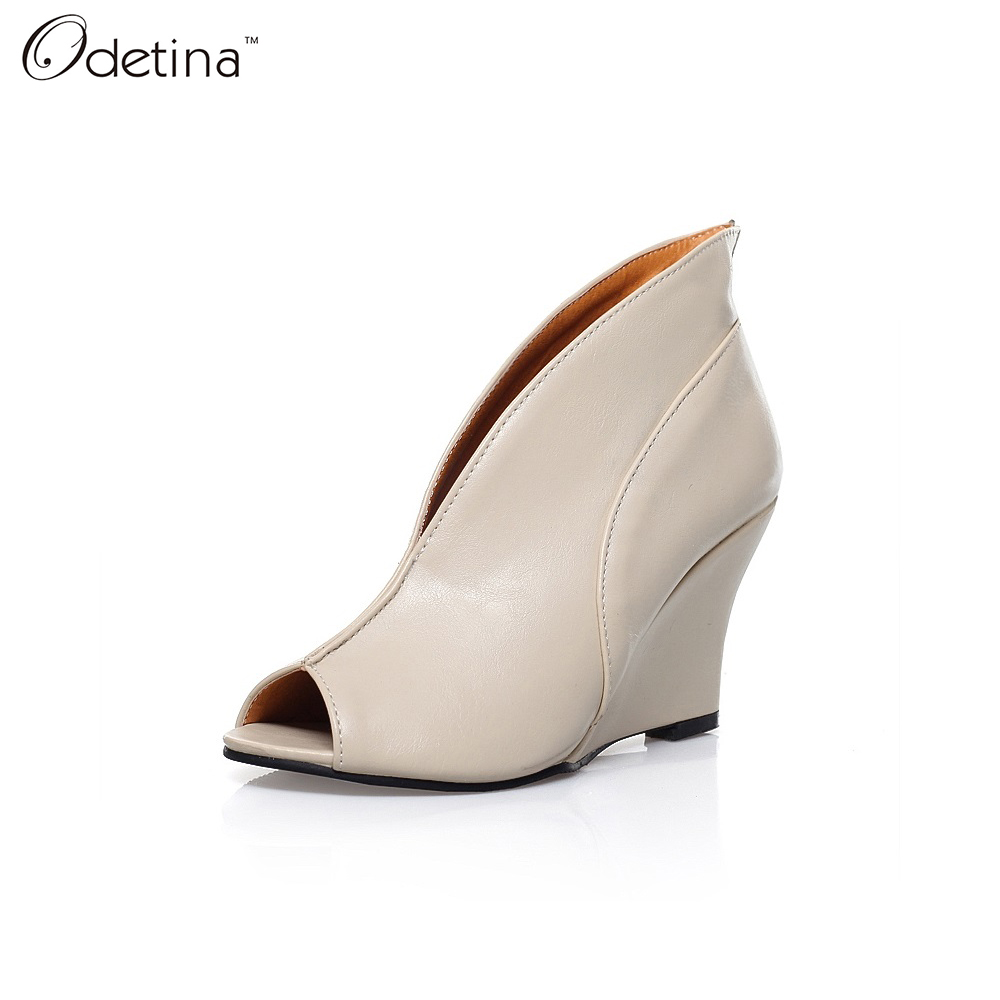 Odetina 2016 Handmand Large Size Open Toe Woman Summer Leather Boots Peep Toe Ankle Boots Slip on Booties Wedges High Heel Solid(China (Mainland))