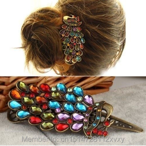 Hairpin Hair Pin Clip Bridal Colorful Retro Crystal Peacock Rhinestone Tuck Comb(China (Mainland))