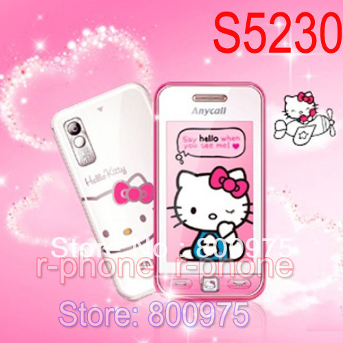 Original Refurbished Unlocked SAMSUNG Hello kitty S5230 S5230c Mobile Phone & One year warranty(China (Mainland))