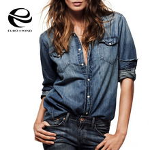European Style 2016 Denim Shirt Women Plus Size Suede Blouse Shirts Tops Winter Cardigans Blusa Jeans chemise jeans femme longue(China (Mainland))