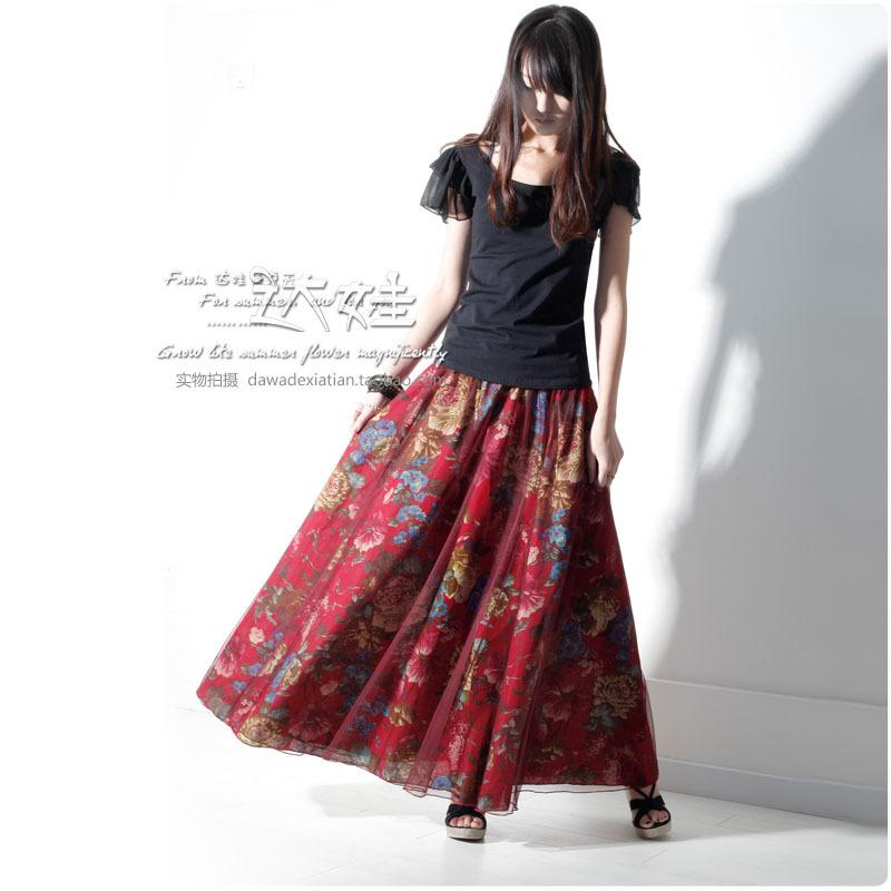 Vintage Flower Print Long skirts Women 2016 New style cotton linen long skirts plus size brand ...