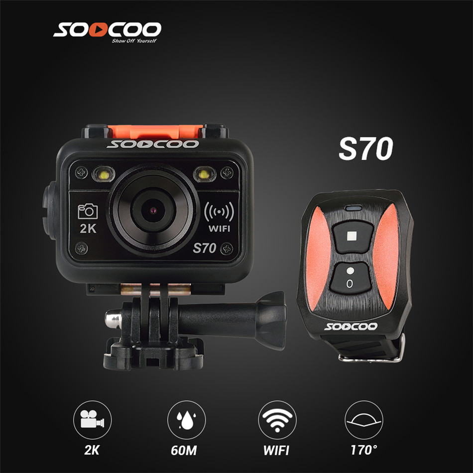 Original SOOCOO S70 WiFi Action Camera 2K@30fps 1080p@60fps Sports Camera with Wireless Watch Remote Control 60M Waterproof DV(China (Mainland))