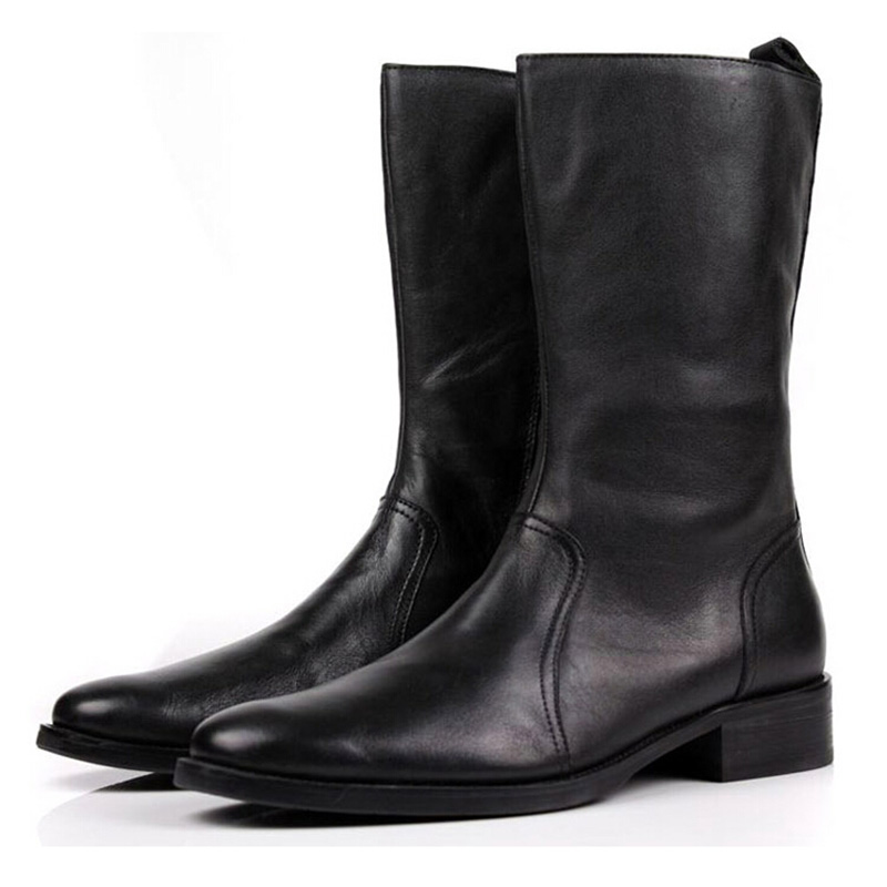 GRIMENTIN fashion zip winter knee high mens boots genuine leather black brown men casual shoes flats for business office zb391(China (Mainland))