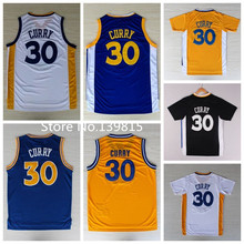 Stephen Curry basketball trikot 2015 golden state 30 weiße blau, gelb, schwarze rev 30 retro trikot, steph Curry Ärmeln trikot(China (Mainland))