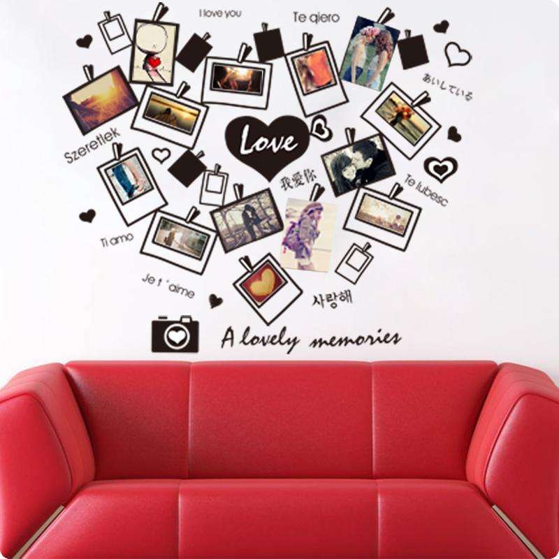 2016 Adesivo De Parede Vinilos Paredes Removable Sofa Background Stickers Living Room Photos Photo Camera English Love I You(China (Mainland))