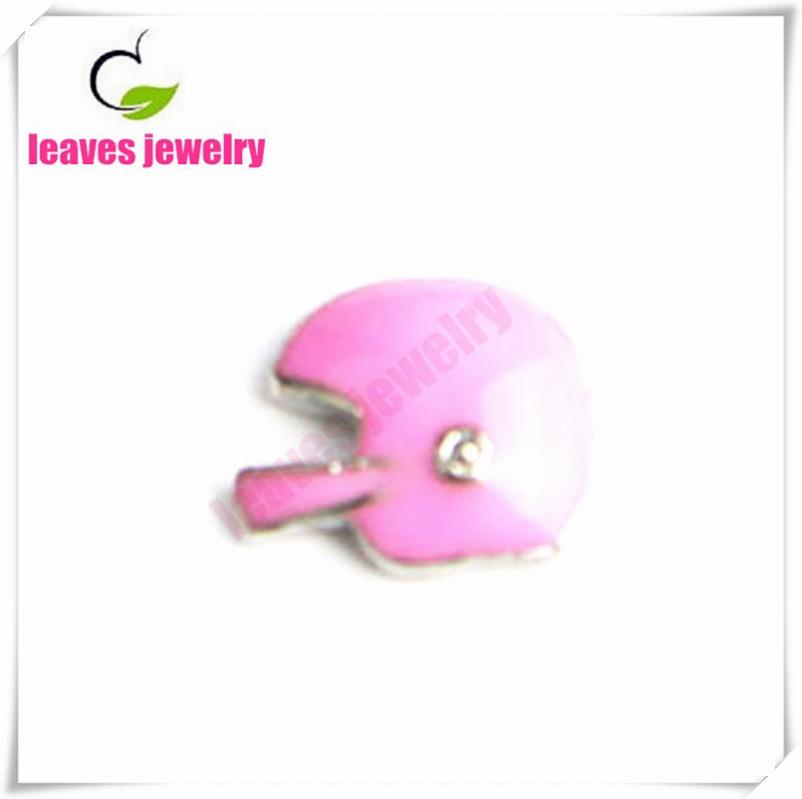 pink Enamel Football Helmet Floating Charm For Memory Locket(China (Mainland))