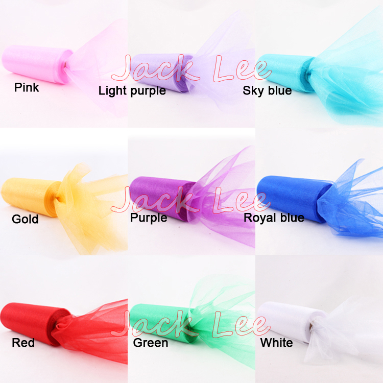 8 Wide Runner Organza Roll Tulle 9 Colors for Choose DIY Chair Sashes Bow Fabric Wedding