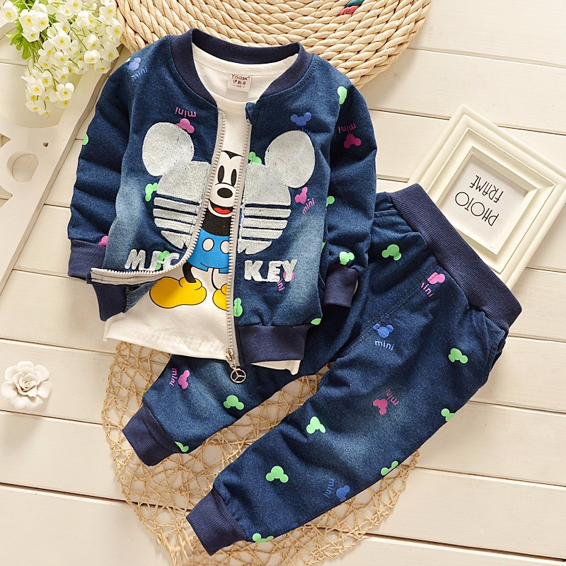 Baby Girl's 3pcs/suit Autumn Children Clothing Set Cartoon Mickey Kids Boys Girls Long Sleeve Coat+Shirt+Pants 3PCS Clothes Set(China (Mainland))