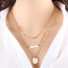 2015 Colar 3 Layer Clavicle Chain Bar Necklaces Round Letter Pendant Necklace Necklace Collares Necklace(China (Mainland))