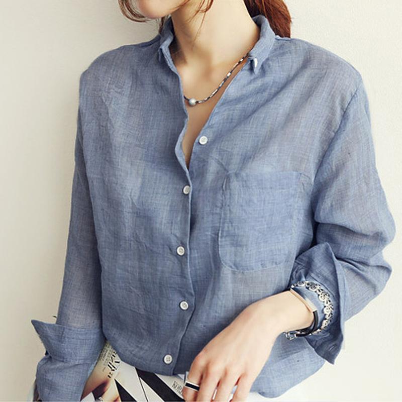 Blouse Blusas Blusa Women Shirts Blouses Camisa Feminina 2015 Summer White Linen Ladies Office Shirt Tops Vetement Femme Clothes(China (Mainland))