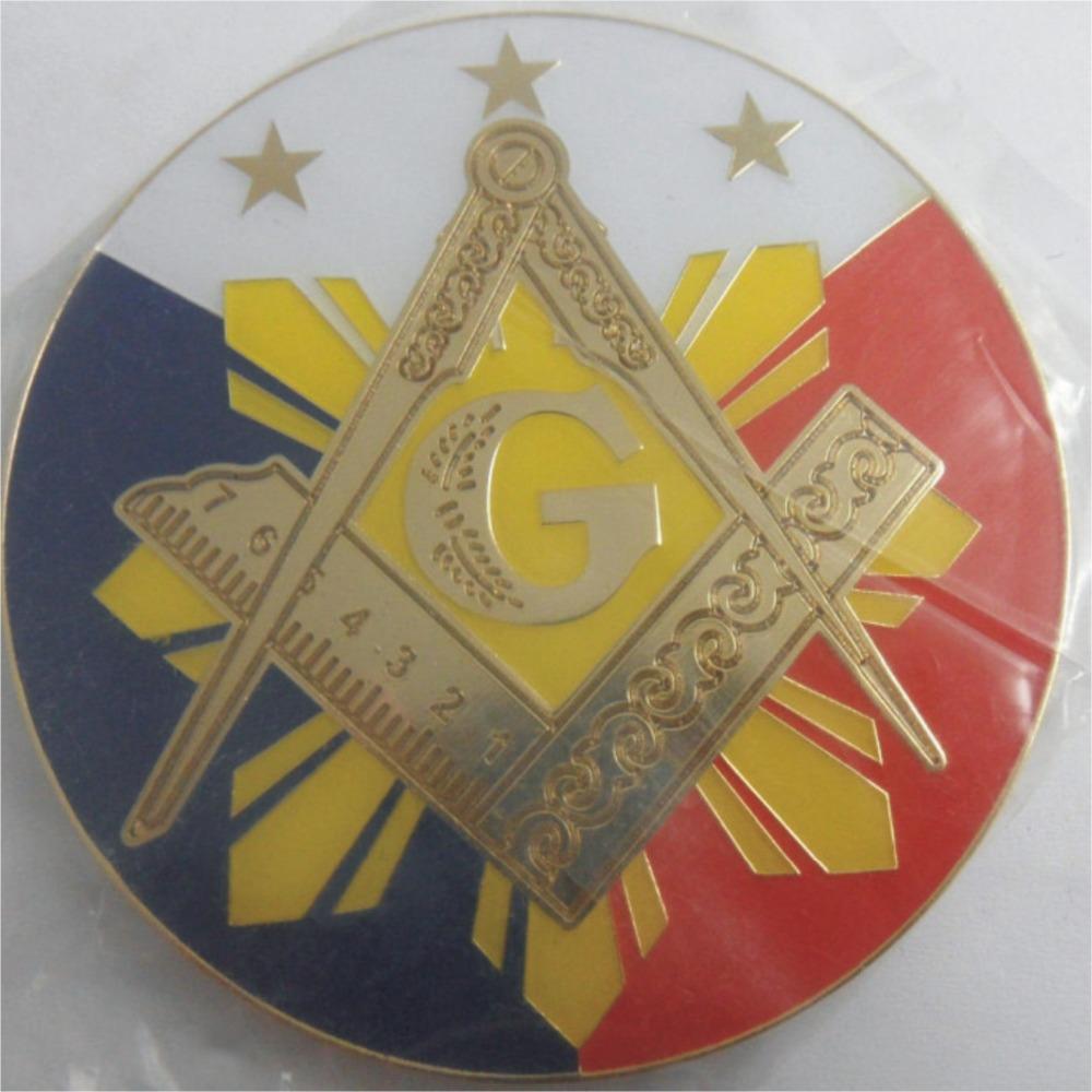 Free Shipping Masonic Items Big Size Compass And Square Masonic Auto Emblems(China (Mainland))
