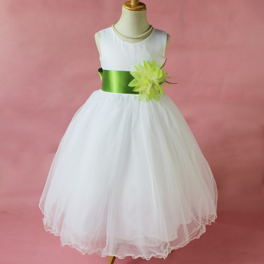 White flower girl petals dress pageant wedding bridal for Toddler dress for wedding