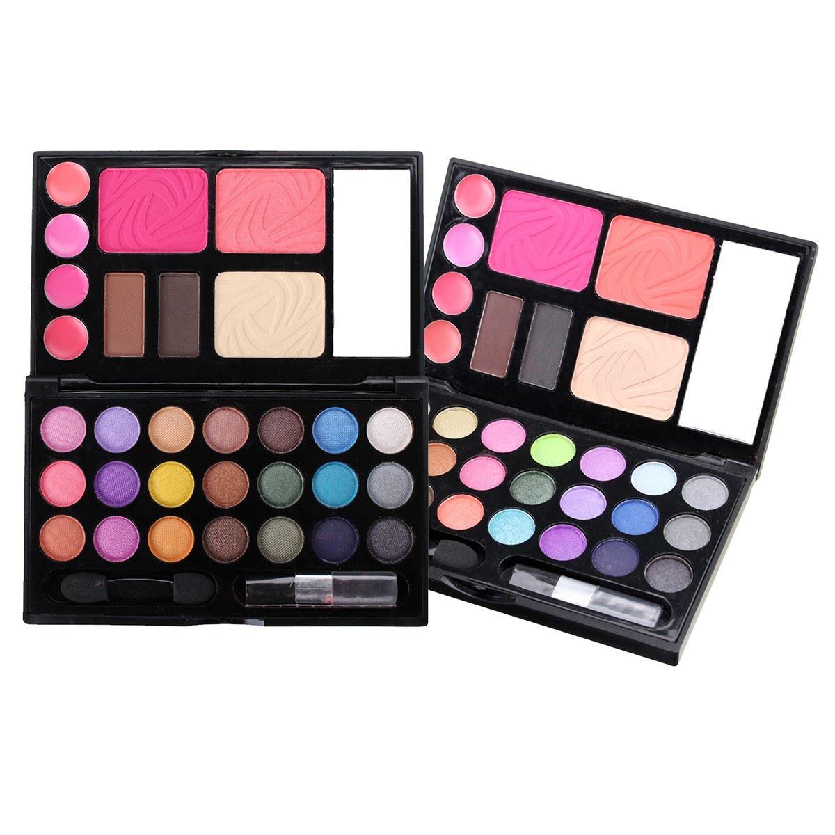 Rich 21 Color Eyeshadow Palette Lip Gloss Eyebrow Cream Foundation Powder Blusher Set Makeup Cosmetic Box Kit New Fashion(China (Mainland))