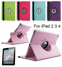 Free shipping Pu Leather Rotating Case Smart Cover Stand For New APPLE iPad 2 3 4 Tablet Case Gift-screen membrane(China (Mainland))