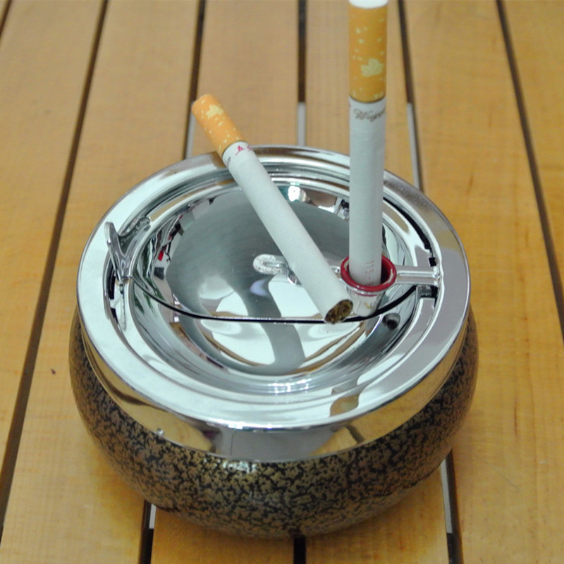 thickening drum Stainless steel smokeless Cigar ashtray \cohiba ashtray\2color Paint decorative pattern ashtrays(China (Mainland))