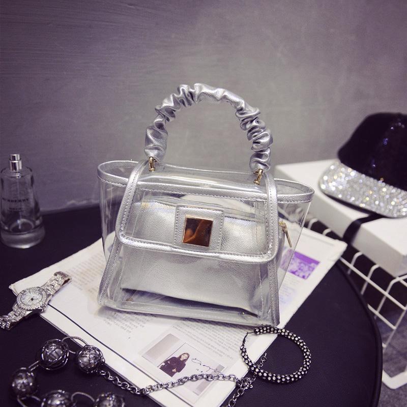 2015 hot Summer jelly beach bag mini candy color women handbag crystal tote Composite transparent plastic women messenger bags(China (Mainland))