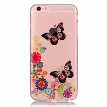 Transparent Eiffel Tower Butterfly Flowers TPU Case for iPhone 6 6S 4.7″ Fashion Bear Feather High-heeled Shoes Soft Cover