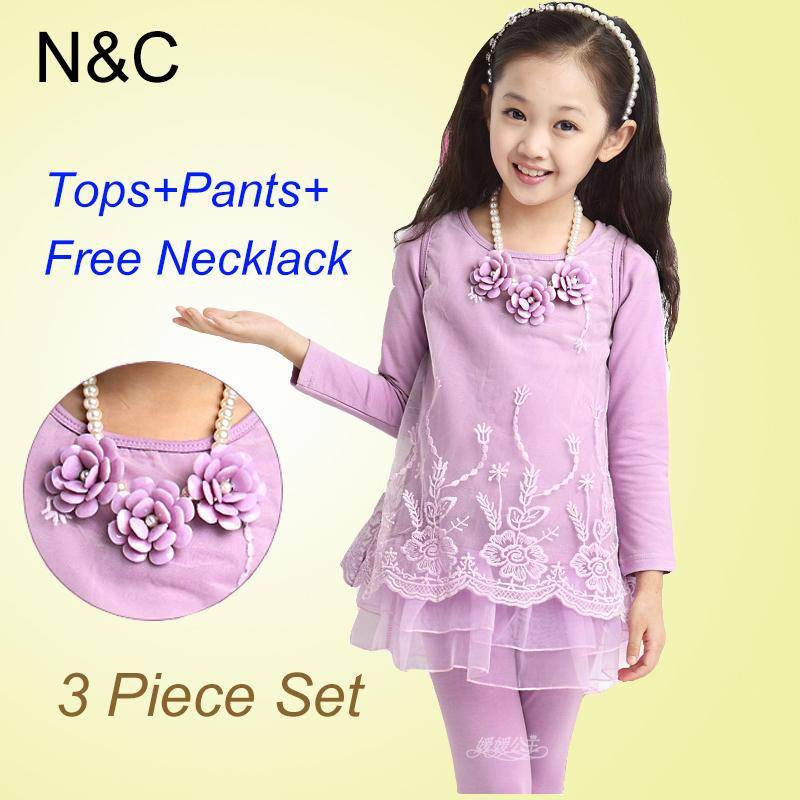 Girl Dress 2015 Christmas Long Sleeve Lace Tops+Leggings+Necklace Kids Girl Party Dress Age 4-14 Girls Winter Dress Kids Clothes(China (Mainland))