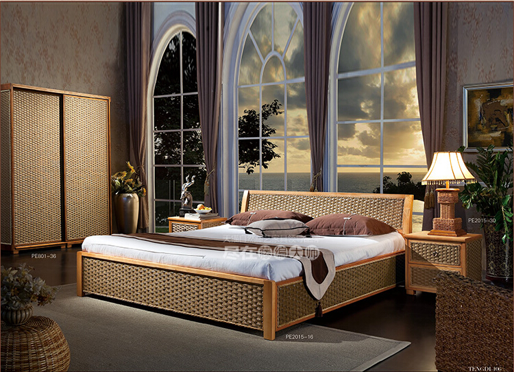 2016 New Design Fashion Leisure Rattan Bed Bedroom Furniture Without