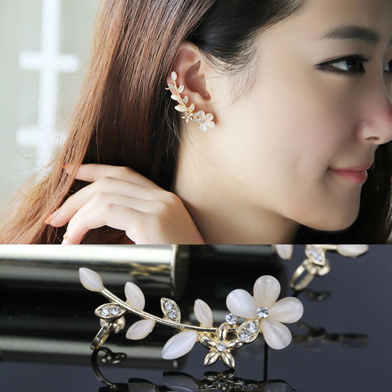 1 pcs New 2015 Fashion Wedding Jewelry Gold Plated Flower Earrings Ear Cuff Clip Earrings free shipping(China (Mainland))