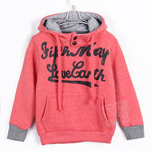 2015 autumn and winter letter male girls clothing child fleece with a hood sweatshirt outerwear A0105(China (Mainland))