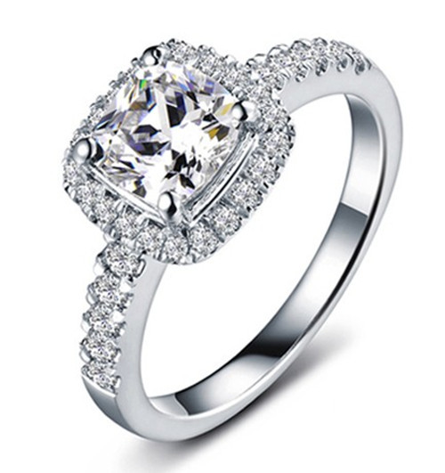 Best Xmas Jewelry Gift ! 1 CT Cushion Cut White Color Synthetic Diamond Wedding Ring for Women Solid 18K White Gold Never Fade(China (Mainland))