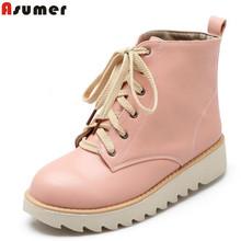2016 nuevo llega la alta calidad de cuero suave con cordones plataforma botines mujeres otoño invierno nieve botas zapatos moda(China (Mainland))