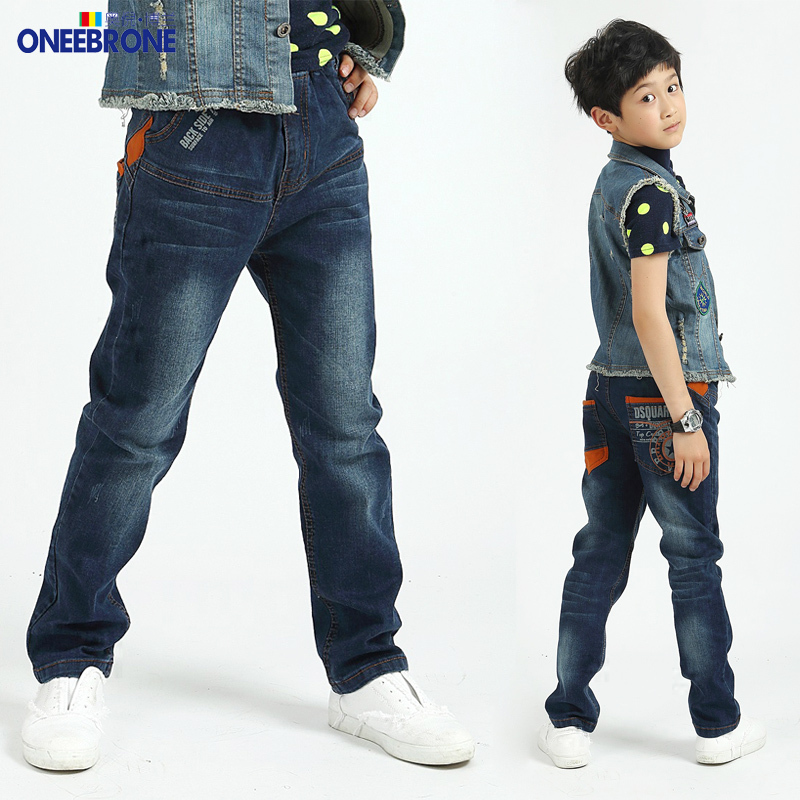 boy jeans trousers cotton fashionable Children's pants for junior Boys kids and teenager jeans with patterns elastic waist(China (Mainland))