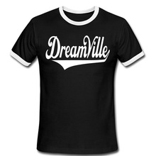 Письмо печатные Dreamville мужчины футболки с коротким рукавом шею звонка мужчина футболки старинные лучших мужских свободного покроя футболки