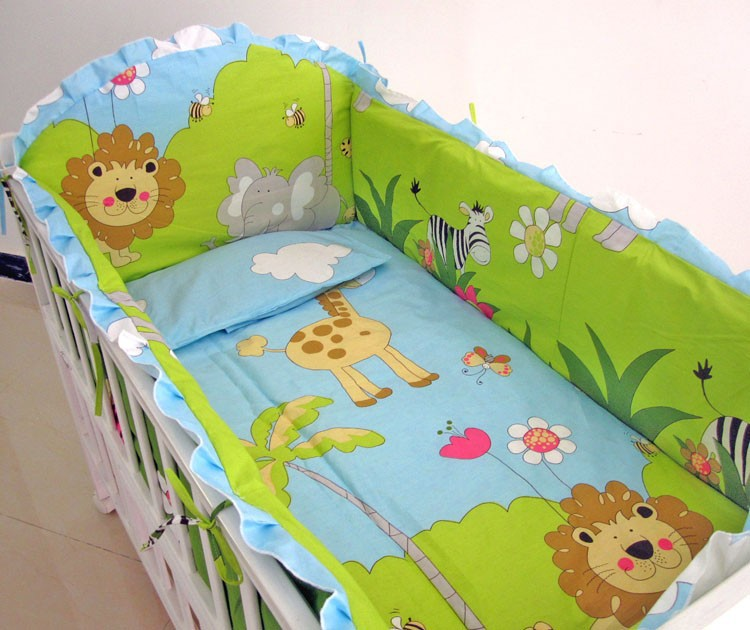 Promotion! 6PCS Lion Crib Baby bedding set,baby furniture,cot bedding set 100% cotton (bumper+sheet+pillow cover)(China (Mainland))