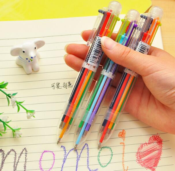 2Pcs/Set Cute Creative 6 Colors Plastic Ballpoint Pen Lovely Kawaii Ball Pens For Kids Korean Stationery Free Shipping(China (Mainland))