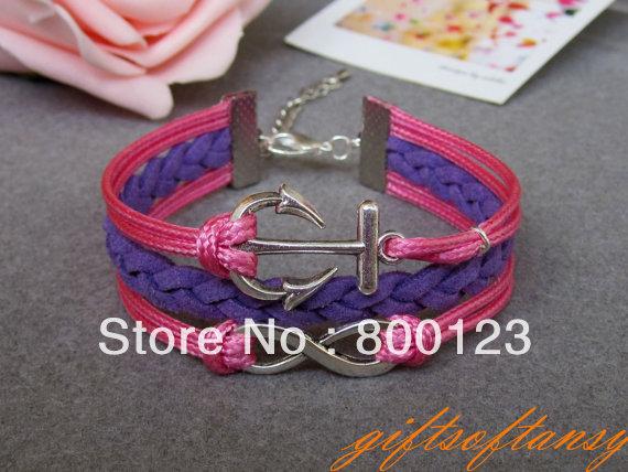 Karma Bracelet - Antique Silver Infinity and Anchor Bracelet, gift for Girlfriend or Boyfriend -W270