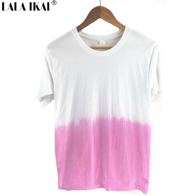 Girl Harajuku T-Shirt Hand Tie-Dyed Gradient Tees Galaxy Rainbow Tees Summer Tops 3 Colors SWB0155 -5(China (Mainland))