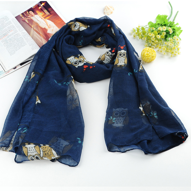 1 pc winter and autumn New Fashion women owl print voile scarf cotton scarves desigual brand big size soft woman scarf shawl(China (Mainland))
