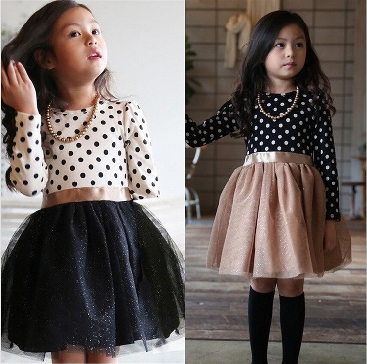 2015 Fashion Baby Dress Long Sleeve Pirncess Girls Clothes Autumn Winter Children Dresses For Girl Polka Dot Clothing Vestidos(China (Mainland))