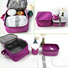 High Quality Japanese Bento Lunch Box w/ Water Soup Mug & Insulated Lunch Tote Bag Food Container Lunchbox Plastic Microwave OK(China (Mainland))
