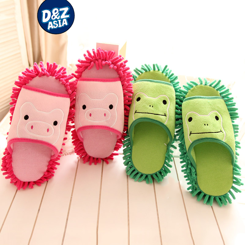 Millffy cartoon pig frog coral chenille brush lazy mopping the floor drag home slippers at home slipper shoes woman(China (Mainland))