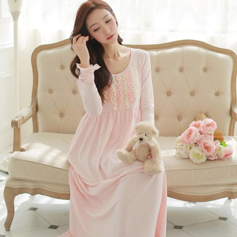 Special Offer 2016 Luxury status Royal Princess Nightgown Cotton Full Sleeve Long Princess Nightdress Round Neck Spring Nighty(China (Mainland))