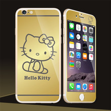 lovely Kitty For iphone6 6s 4.7 Mirror Plated Front+Back Screen Tempered Glass Film Phone Protector Skin Cover Sticker Decal