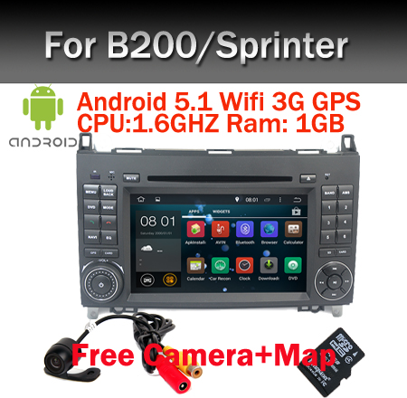Quad Core Car PC Android 5.1 for Mercedes/Benz Vito Viano Sprinter Crafter Bluetooth Radio WIFI 3G DVR SWcontrol USB SD Free Map(China (Mainland))