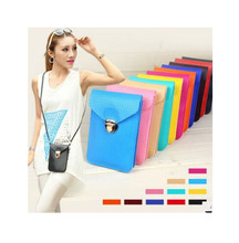 The new7-color candy color famous designer brand handbags PU leather handbag Messenger bag small wallet phone package Kore