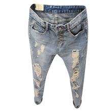 2016 Novo Estilo Moda Verão Mulheres Jeans rasgado Buracos boyfriend jeans para as mulheres Harem Pants calças de Brim Magros do vintage TB493