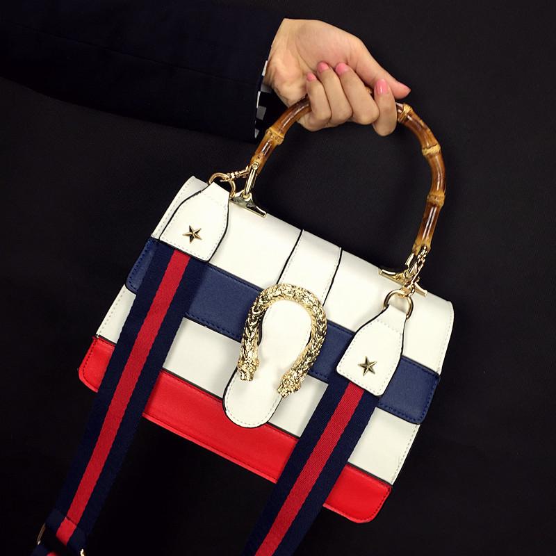 2016 New Womens Ladies Designer Handbags Fashion PU Navy Stripe Snakehead Hasp Triangle Handbag Flap Shoulder Bag Messenger Bags(China (Mainland))